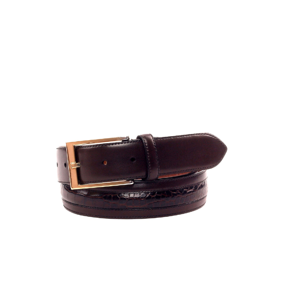 Side view of model Dove Valley, dark brown box calf, dark brown painted croco, luggare nubuck, gold hardware Golf BespokeShoes
