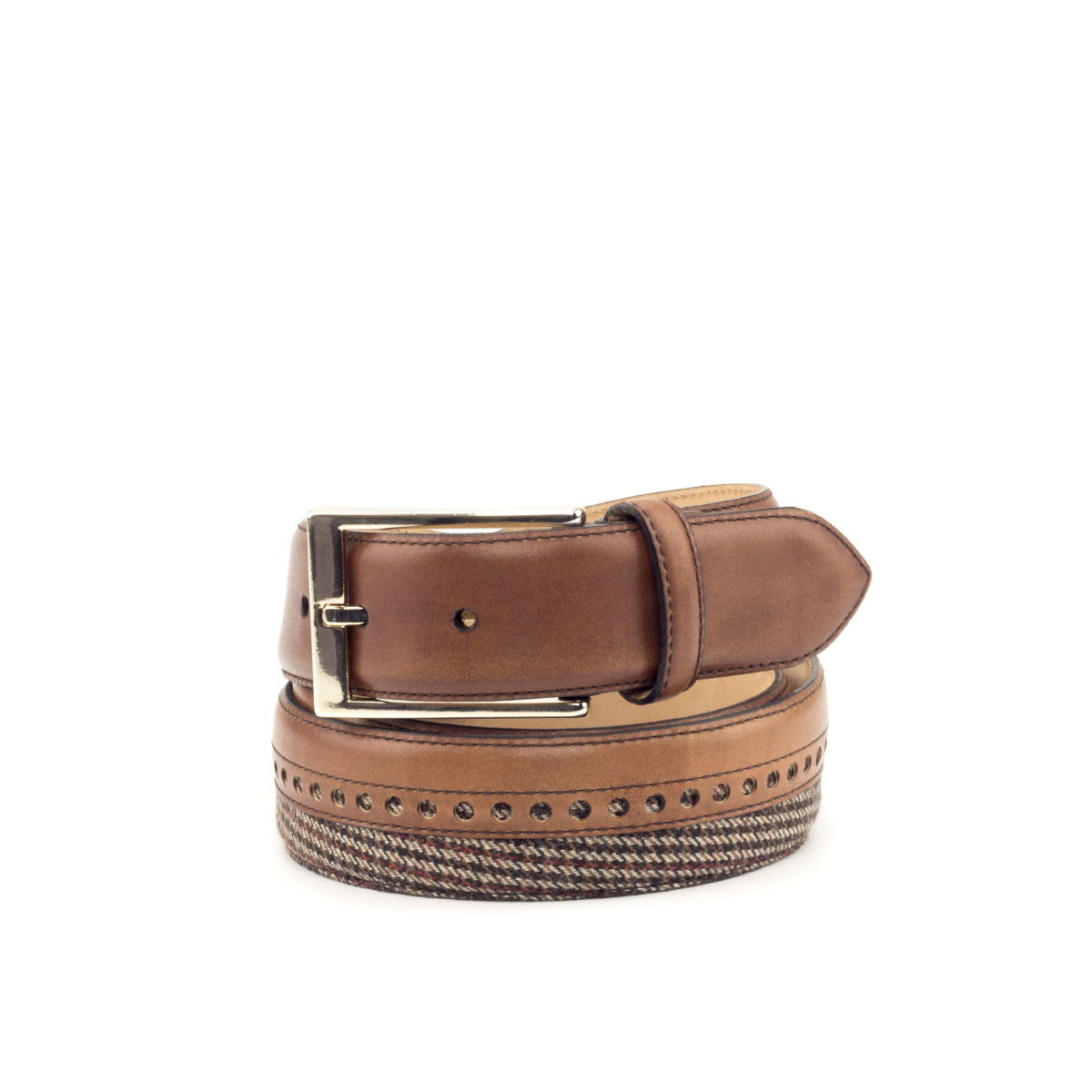 Bottom view of model Sequim, med brown painted calf, tweed fabric, safari nubuck, gold buckle Golf BespokeShoes