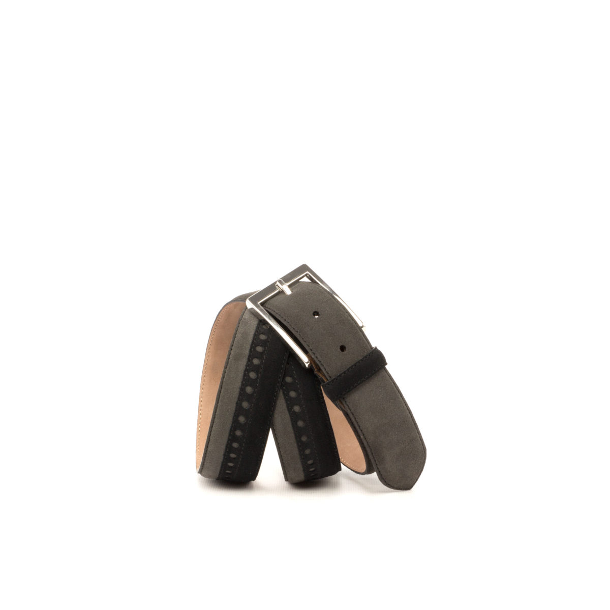 Bottom view of model Dodge, black and grey suede, stone nubuck, niquel buckle Golf BespokeShoes