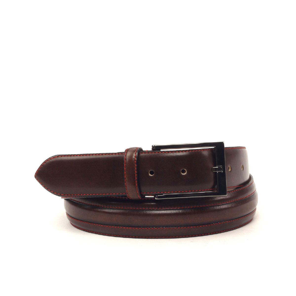 Side view of model Basile, dark brown painted calf, red stiching, luggare nubuck, graphite buckle Golf BespokeShoes