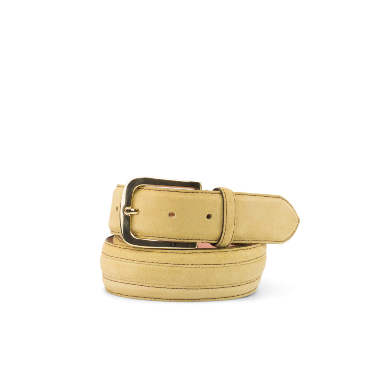 Side view of model Oaklawn, sand lux suede, pale rose nubuck, gold buckle Golf BespokeShoes