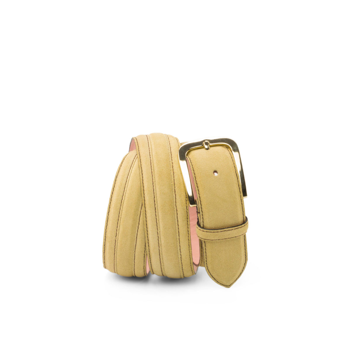 Bottom view of model Oaklawn, sand lux suede, pale rose nubuck, gold buckle Golf BespokeShoes