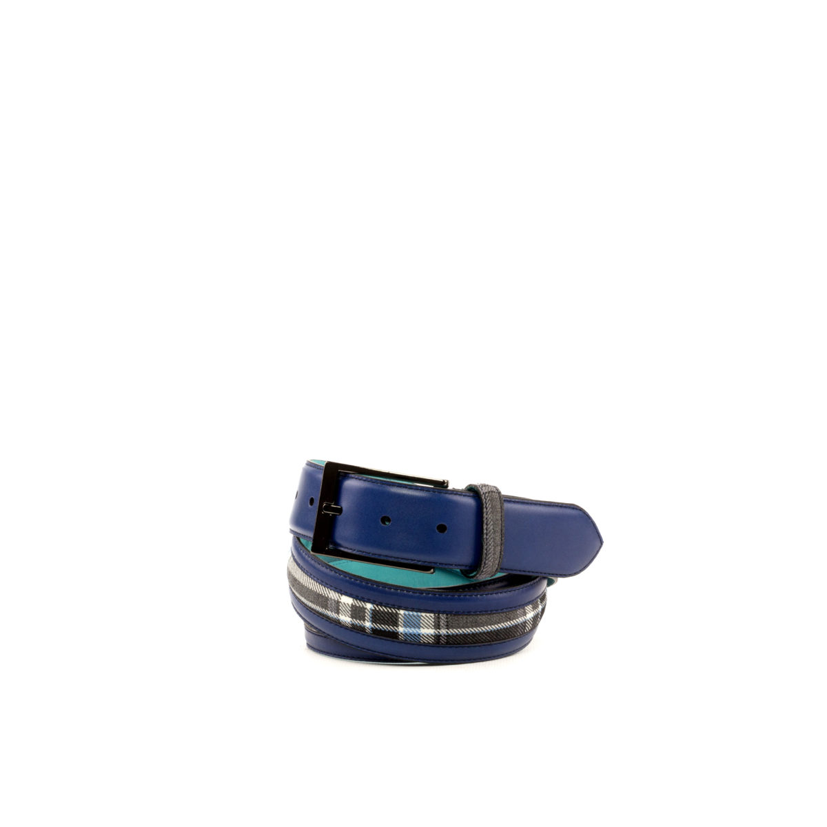 Side view of model Baxter, navy blue painted calf, plaid fabric, tuquoise nubuck, graphite buckle Golf BespokeShoes