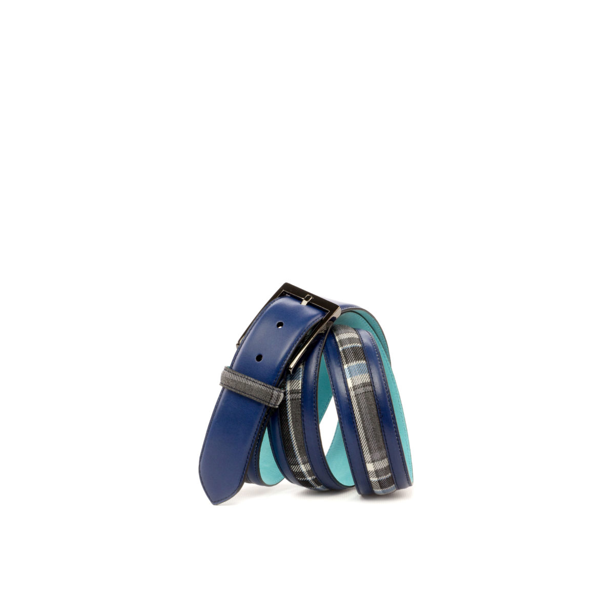 Bottom view of model Baxter, navy blue painted calf, plaid fabric, tuquoise nubuck, graphite buckle Golf BespokeShoes