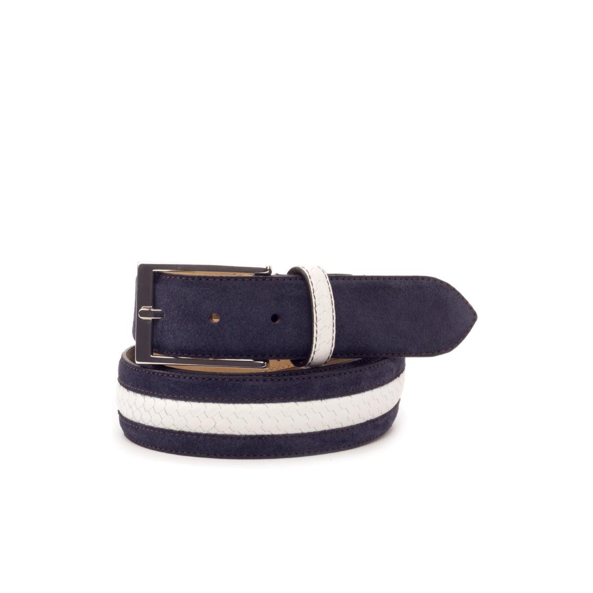 Bottom view of model Anton, navy blue suede, white braided box calf, stone nubuck, niquel buckle Golf BespokeShoes