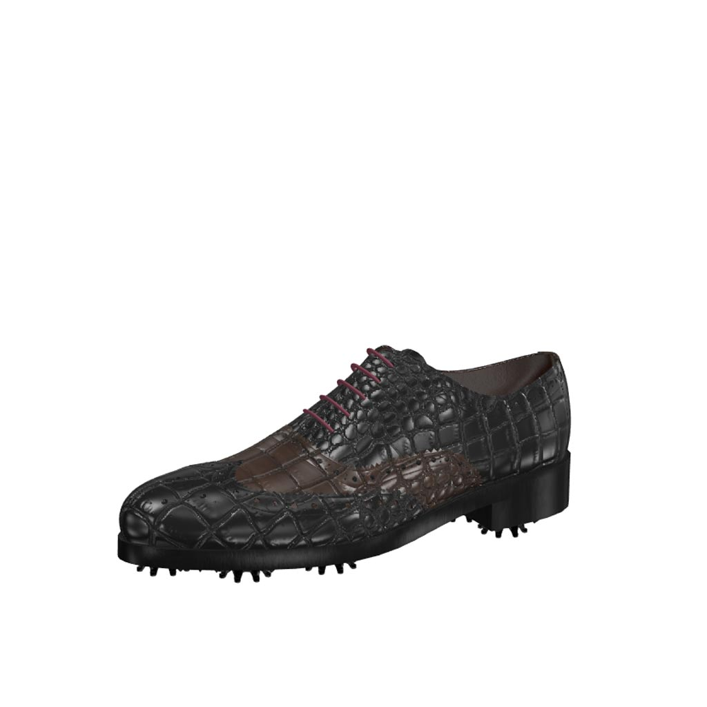 Front view of model Michael, black and dark brown croco painted leather Golf BespokeShoes