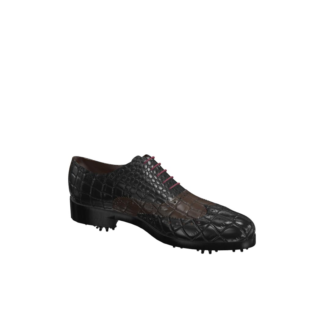 Side view of model Michael, black and dark brown croco painted leather Golf BespokeShoes