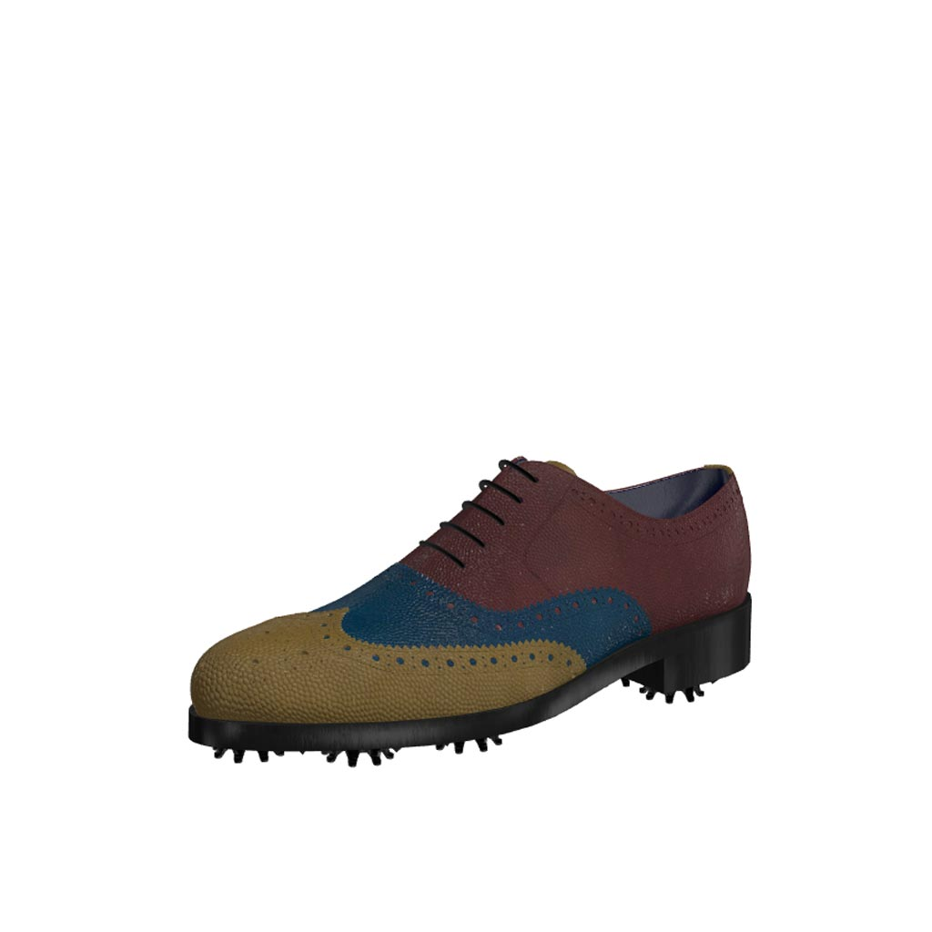 Front view of model Alexander, olive, blue and burgundy painted pebble grain leathe Golf BespokeShoes