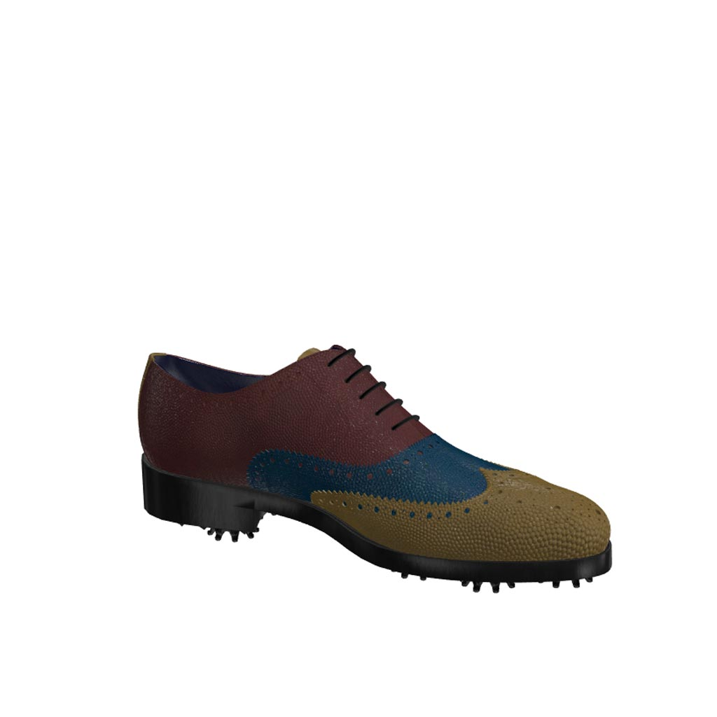 Side view of model Alexander, olive, blue and burgundy painted pebble grain leathe Golf BespokeShoes