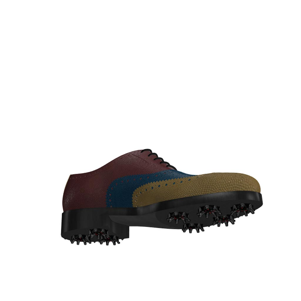 Bottom view of model Alexander, olive, blue and burgundy painted pebble grain leathe Golf BespokeShoes