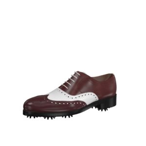 Front view of model Daniel, burgundy and white calf Golf BespokeShoes