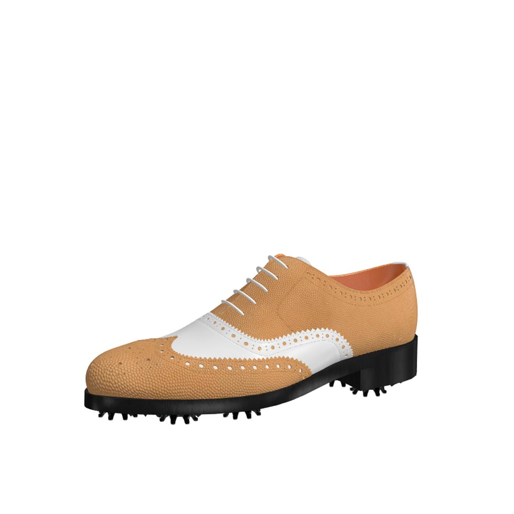Front view of model Henry, fawn painted pebble grain and white calf Golf BespokeShoes