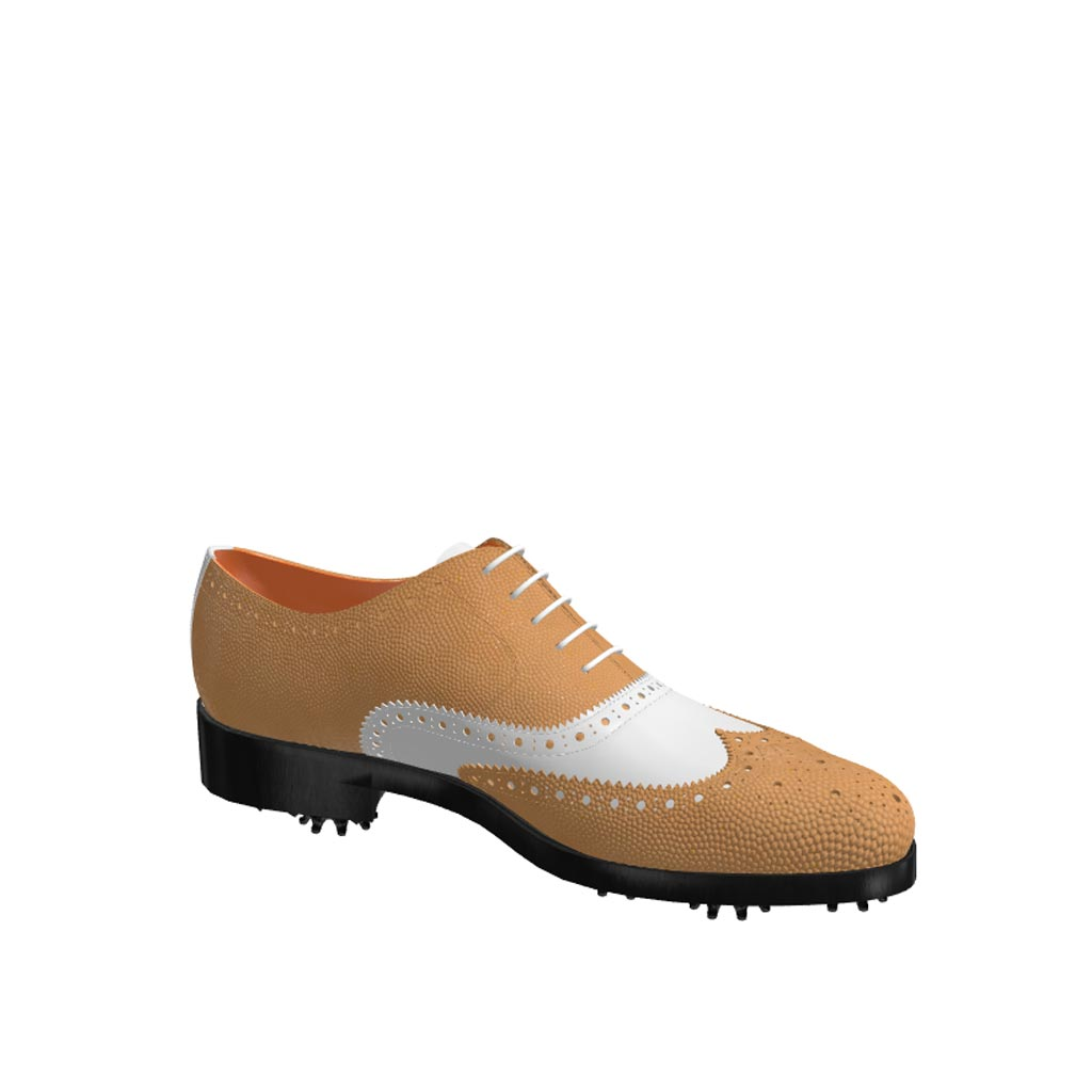 Side view of model Henry, fawn painted pebble grain and white calf Golf BespokeShoes