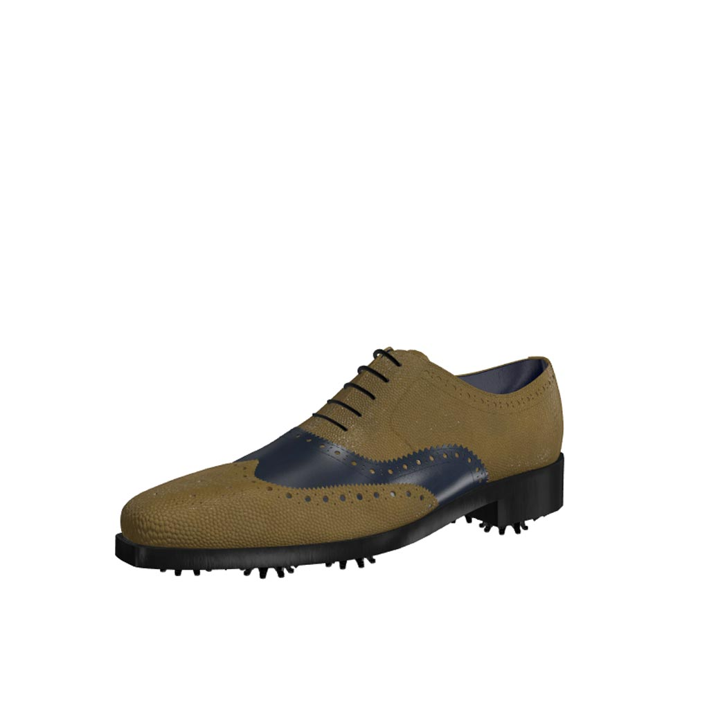 Front view of model Jeffrey, olive painted pebble grain and blue navy calf leather Golf BespokeShoes