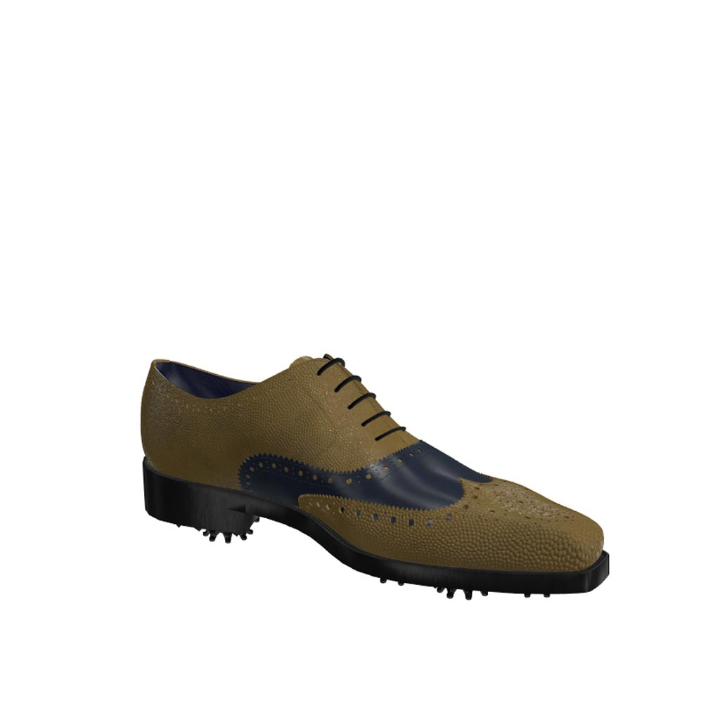 Side view of model Jeffrey, olive painted pebble grain and blue navy calf leather Golf BespokeShoes