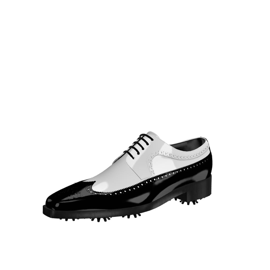 Front view of model John, black and white patent leather Golf BespokeShoes