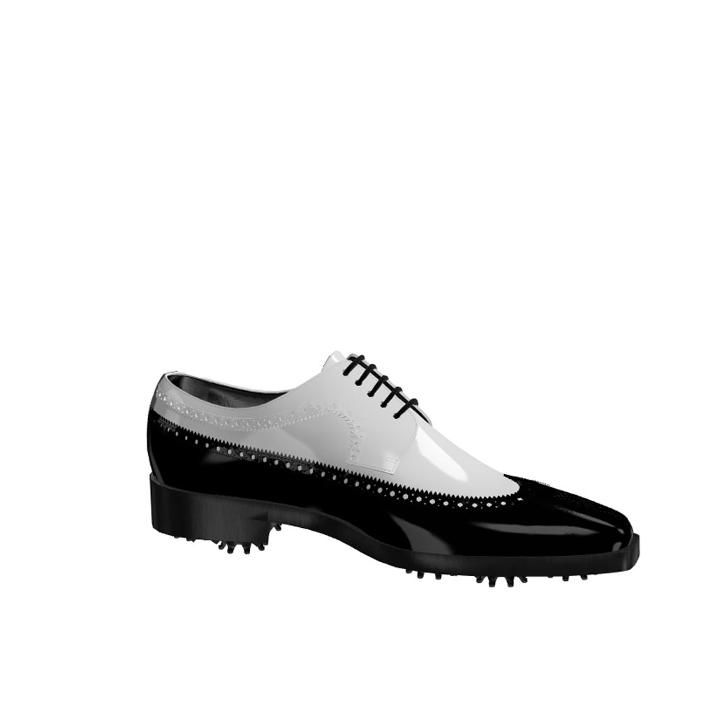 Side view of model John, black and white patent leather Golf BespokeShoes