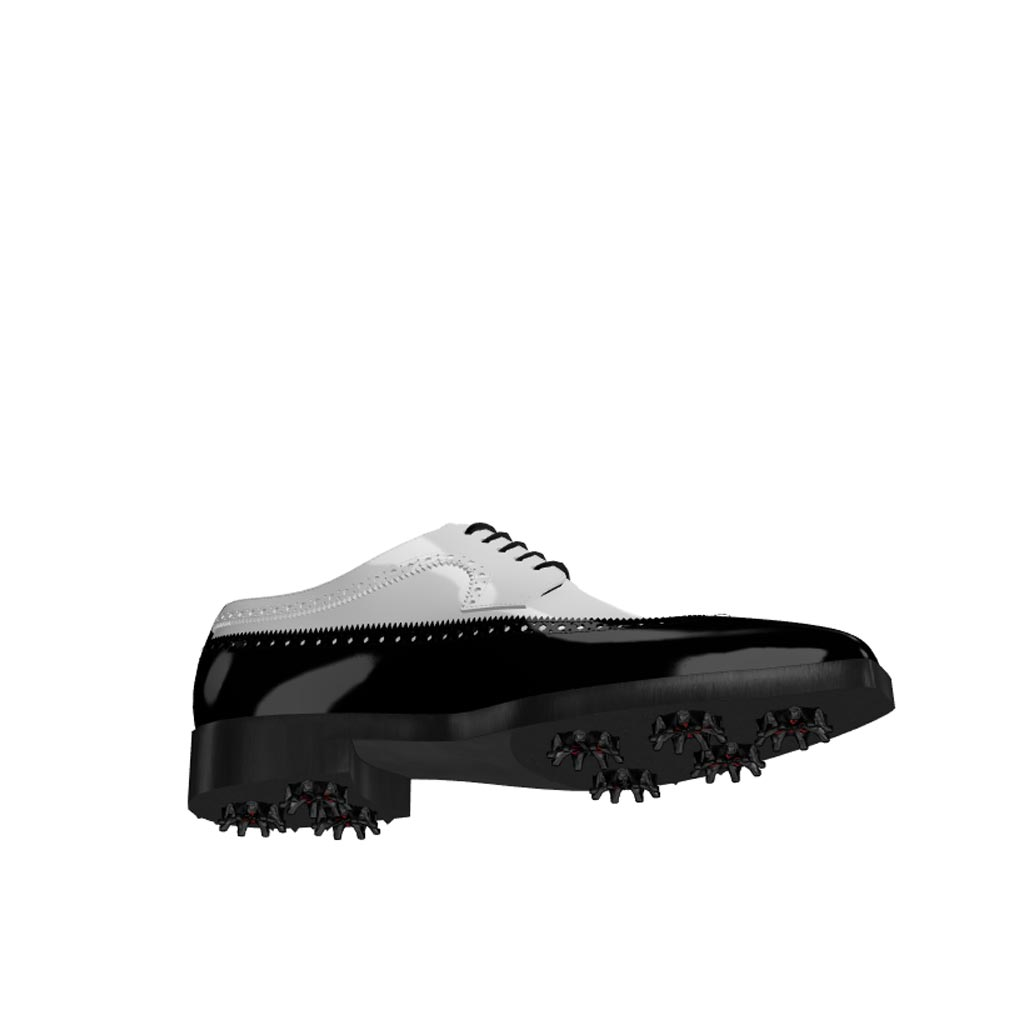 Bottom view of model John, black and white patent leather Golf BespokeShoes