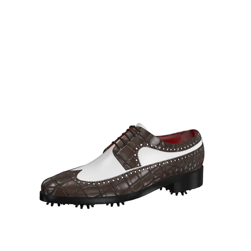 Front view of model Owen, dark brown painted croco and white calf leather Golf BespokeShoes