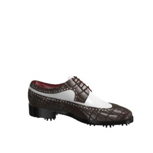 Side view of model Owen, dark brown painted croco and white calf leather Golf BespokeShoes