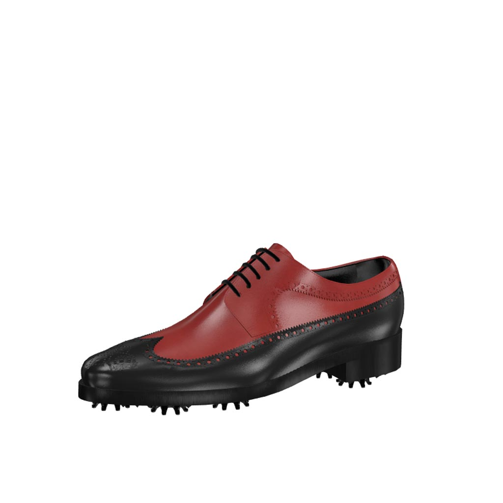 Front view of model Dylan, black and red painted calf leather Golf BespokeShoes