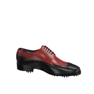 Side view of model Dylan, black and red painted calf leather Golf BespokeShoes