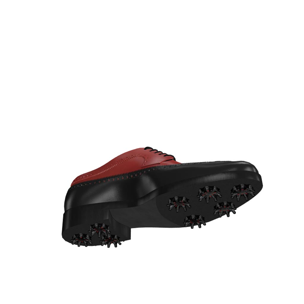 Bottom view of model Dylan, black and red painted calf leather Golf BespokeShoes