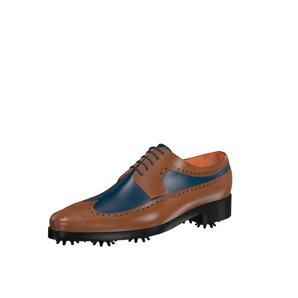 Front view of model Luke, med brown and blue navy painted calf leather Golf BespokeShoes