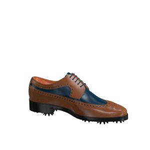 Side view of model Luke, med brown and blue navy painted calf leather Golf BespokeShoes