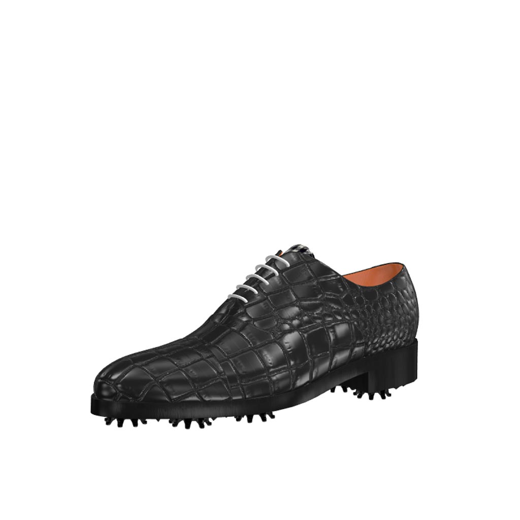 Front view of model Liam, full black painted croco leather Golf BespokeShoes
