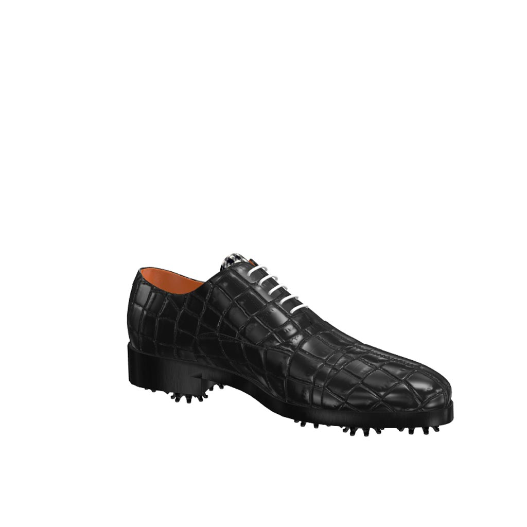 Side view of model Liam, full black painted croco leather Golf BespokeShoes