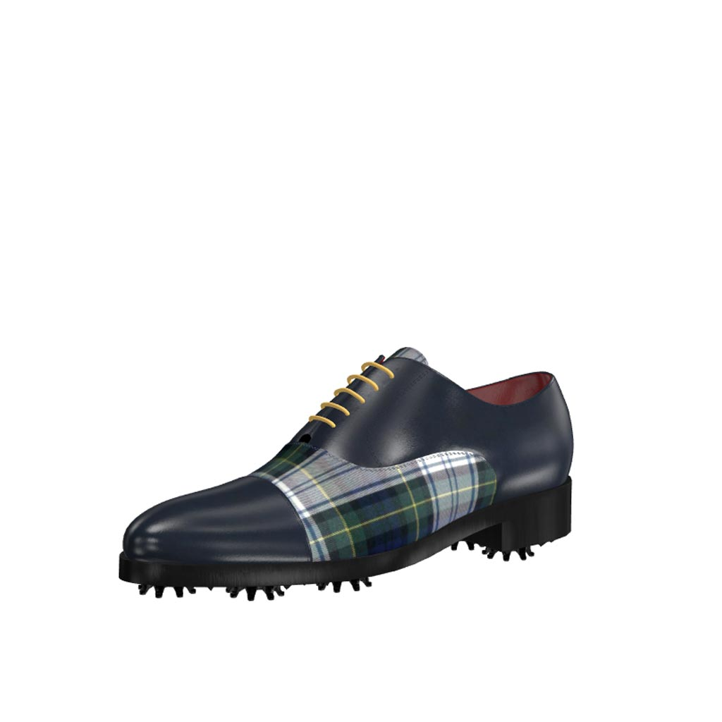 Front view of model Noah, elegant blue box claf and tartan fabric Golf BespokeShoes