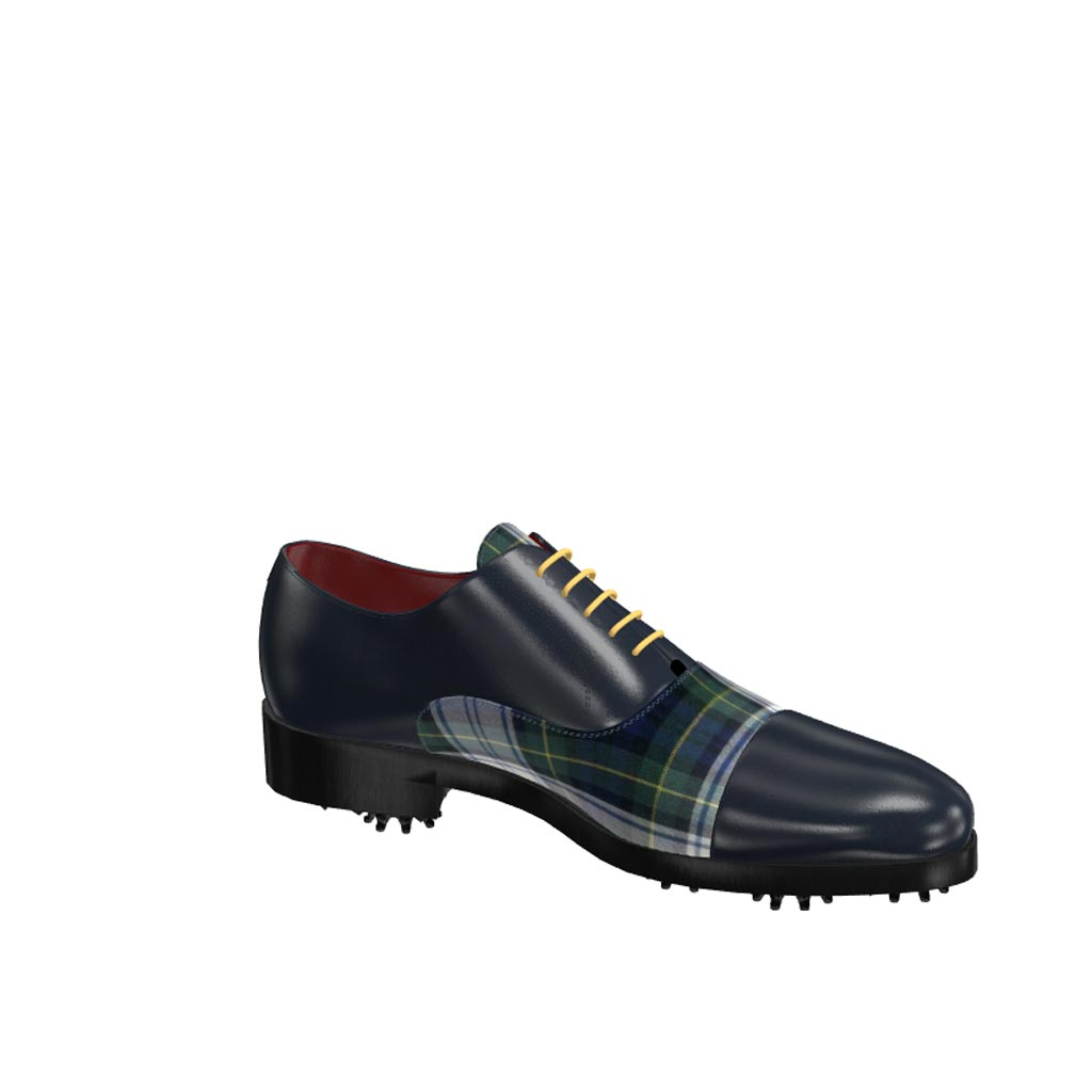 Side view of model Noah, elegant blue box claf and tartan fabric Golf BespokeShoes