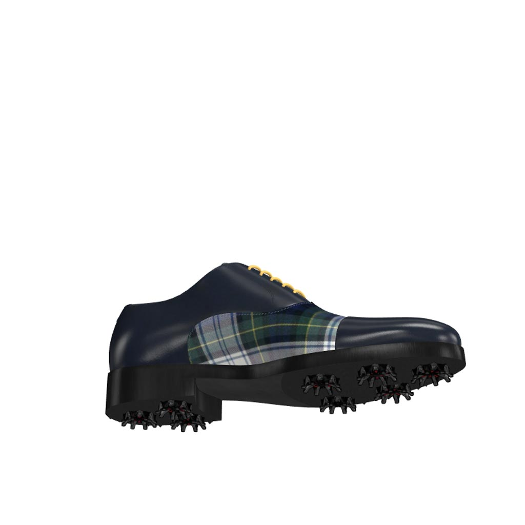 Bottom view of model Noah, elegant blue box claf and tartan fabric Golf BespokeShoes