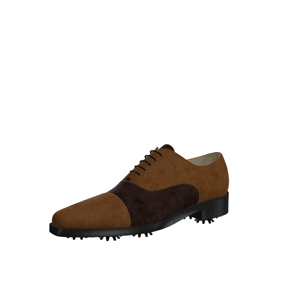 Front view of model William, dark and med brown suede Golf BespokeShoes