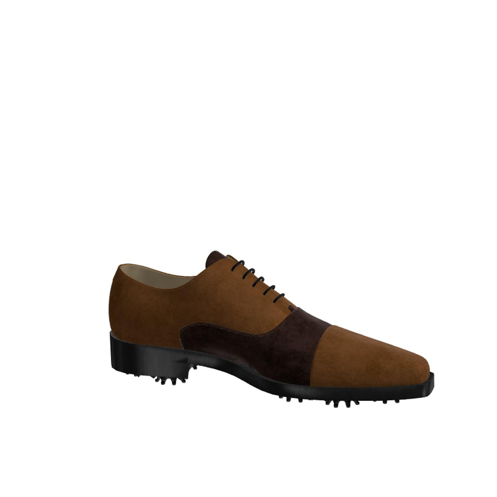 Side view of model William, dark and med brown suede Golf BespokeShoes
