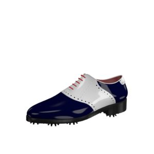 Front view of model Robert, white and blue cobalt patent leather Golf BespokeShoes