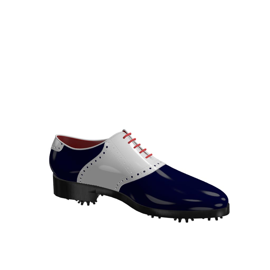 Side view of model Robert, white and blue cobalt patent leather Golf BespokeShoes