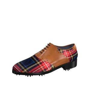 Front view of model Andy, tartan fabric and cognac painted calf leather Golf BespokeShoes