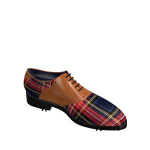 Side view of model Andy, tartan fabric and cognac painted calf leather Golf BespokeShoes
