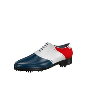 Front view of model Mike, blue and white box calf leather and red kid suede Golf BespokeShoes