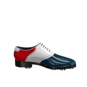Side view of model Mike, blue and white box calf leather and red kid suede Golf BespokeShoes