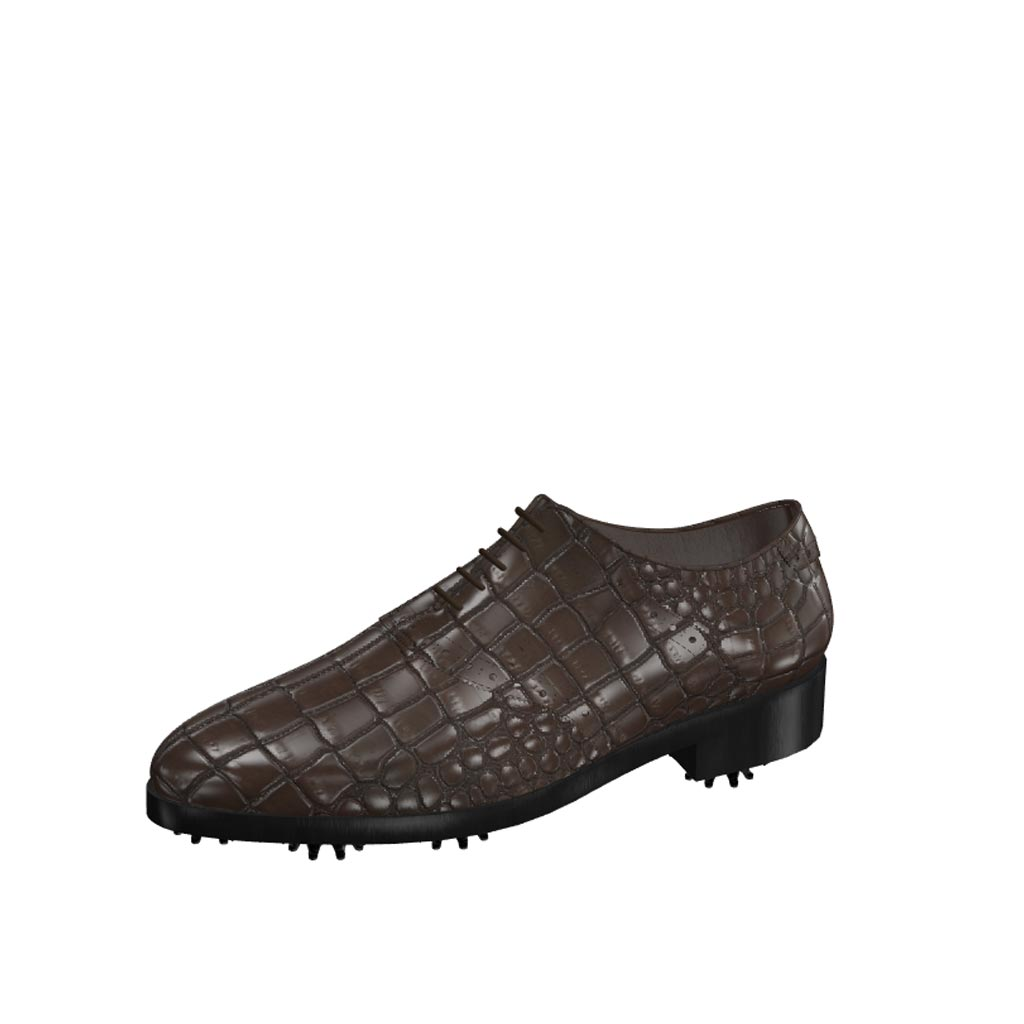 Front view of model Patrick, dark brown painted croco leather Golf BespokeShoes