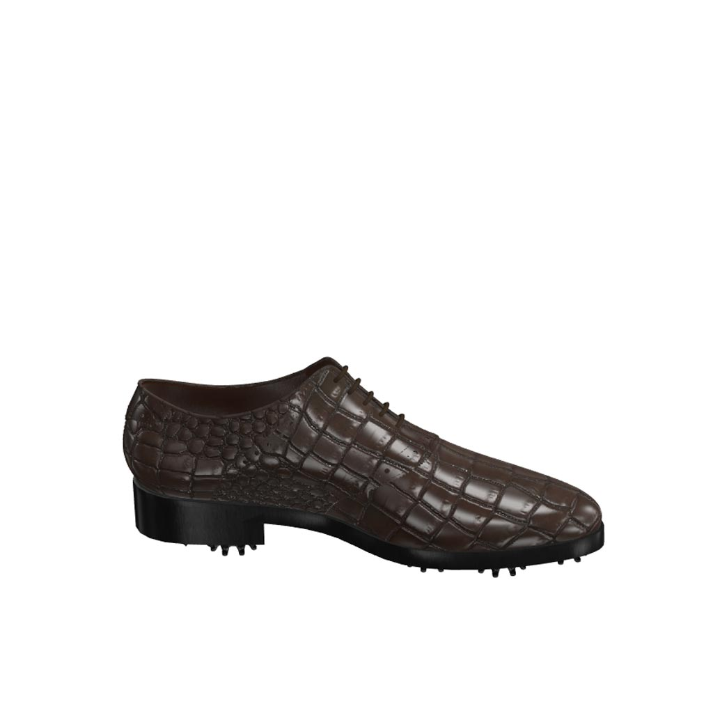 Side view of model Patrick, dark brown painted croco leather Golf BespokeShoes