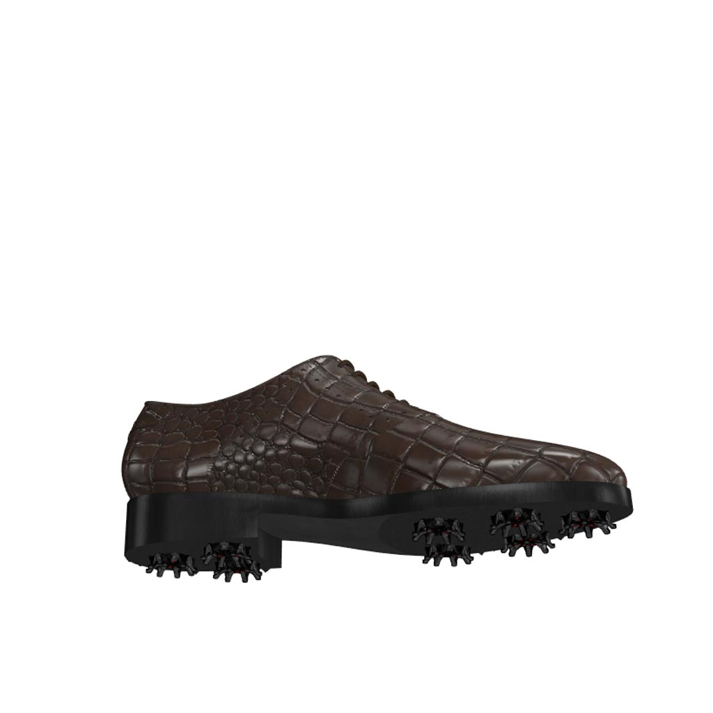 Bottom view of model Patrick, dark brown painted croco leather Golf BespokeShoes