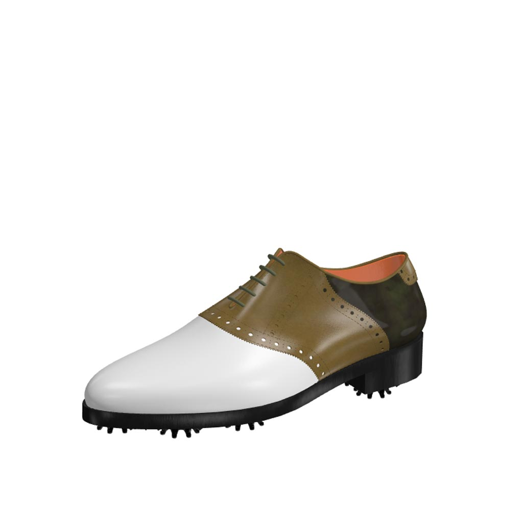Front view of model Frank, white calf leather olive painted calf and florantic military leather Golf BespokeShoes