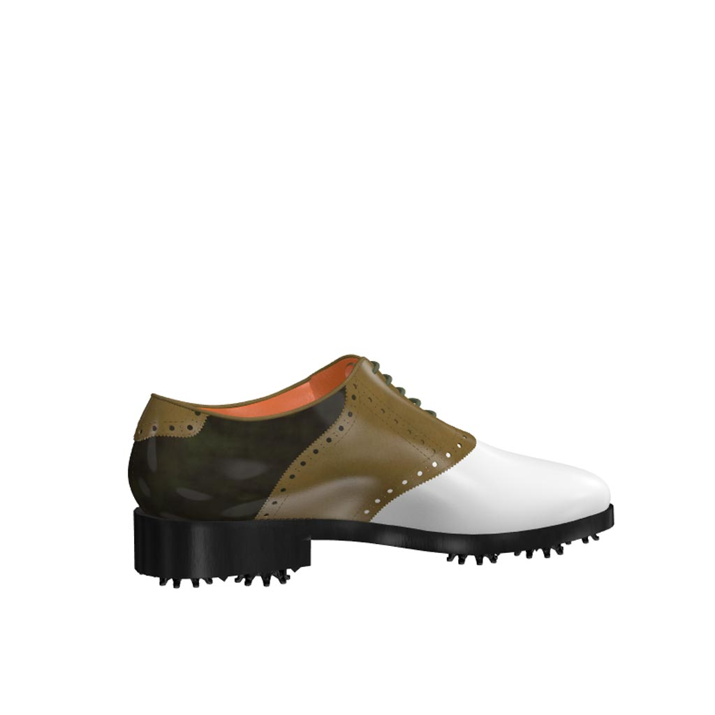 Side view of model Frank, white calf leather olive painted calf and florantic military leather Golf BespokeShoes