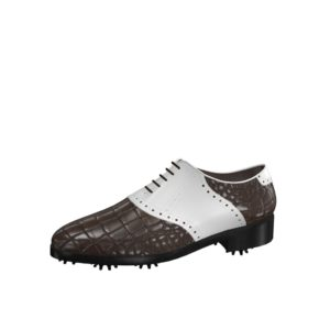 Front view of model Martin, luxury brown painted croco leather and white calf leather Golf BespokeShoes