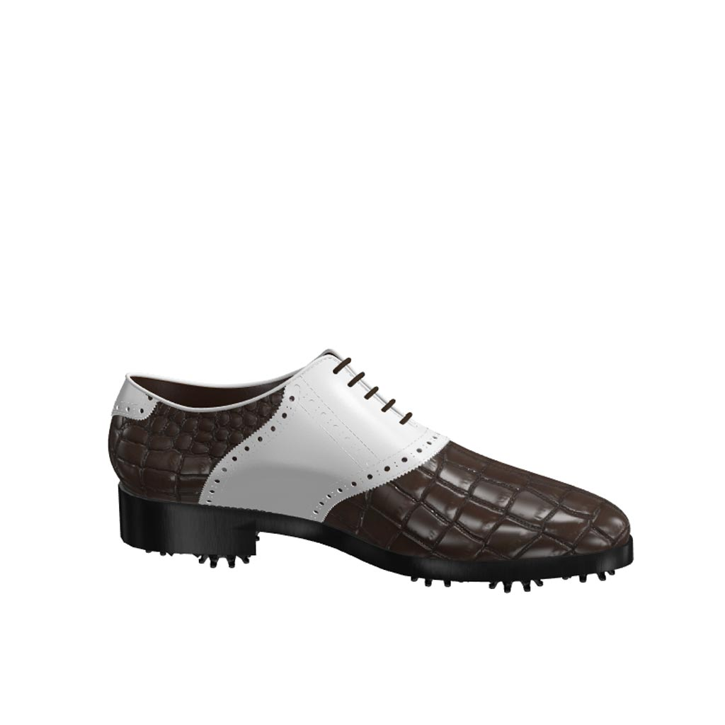 Side view of model Martin, luxury brown painted croco leather and white calf leather Golf BespokeShoes