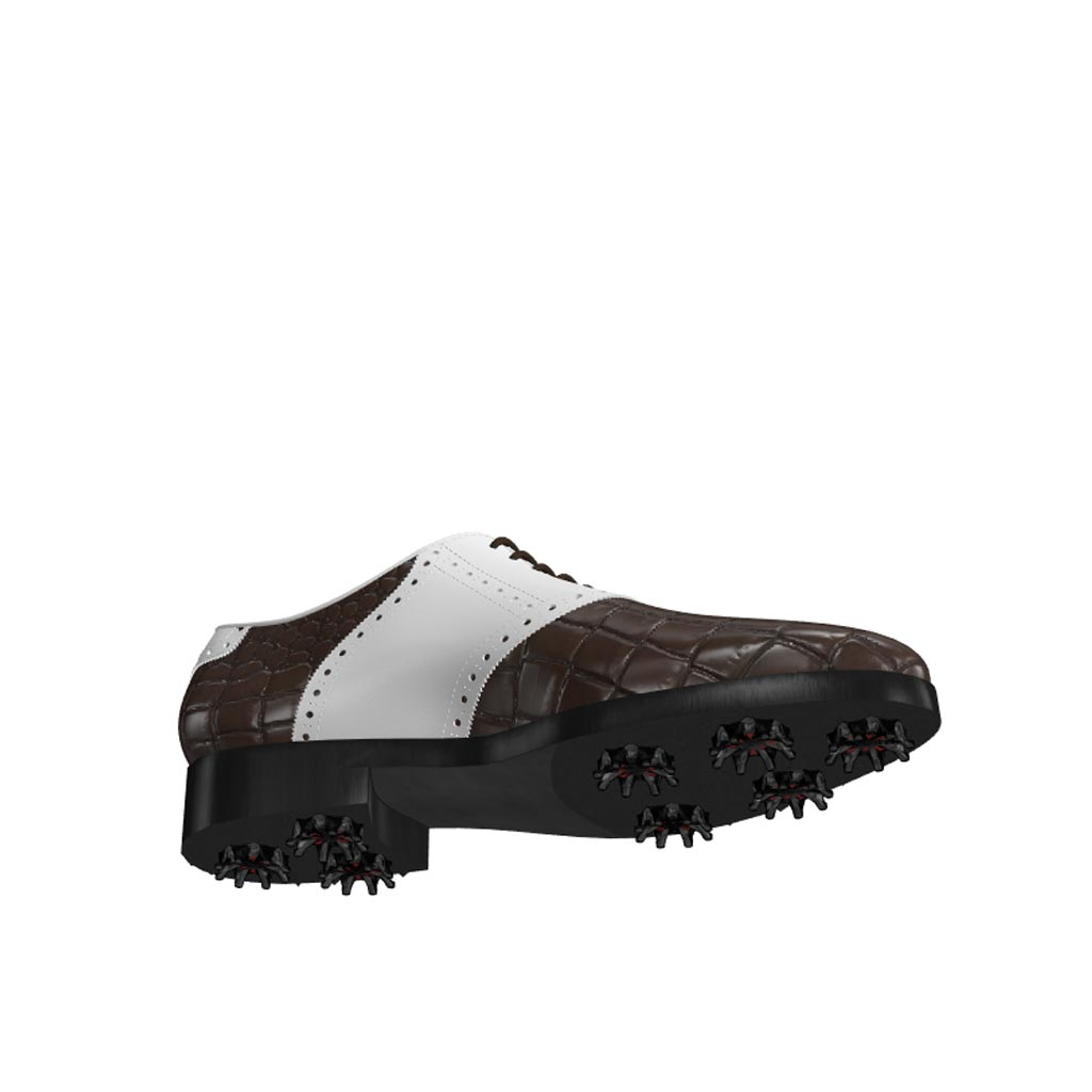 Bottom view of model Martin, luxury brown painted croco leather and white calf leather Golf BespokeShoes